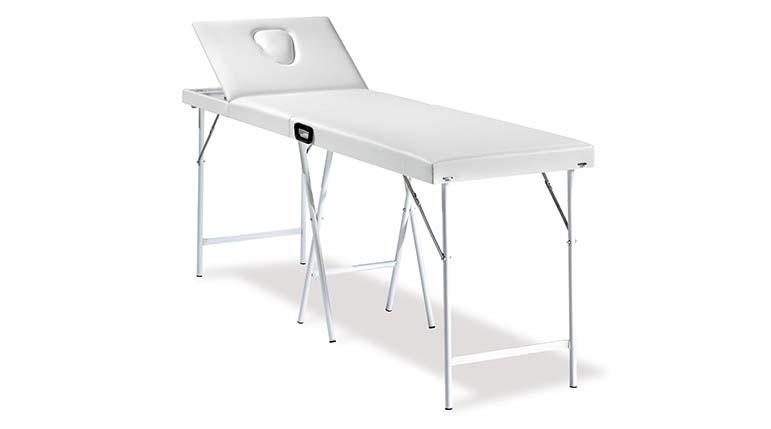 Lettino massaggi 2 zone portatile con gambe rinforzate